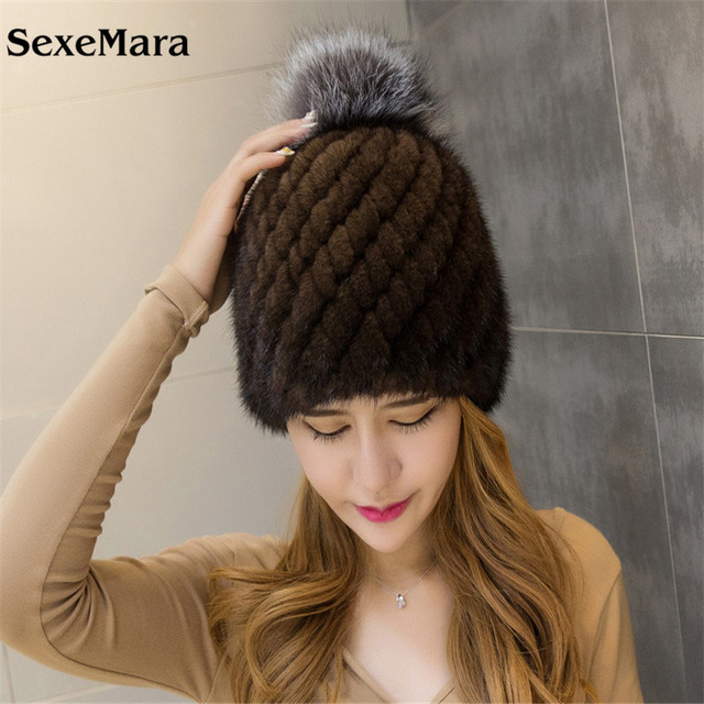 Hot Sale Mink Fur Beanies Cap With Fox Fur Pompoms For Women New Brand Thicken Female Cap Winter Knitted Real Mink Fur Hat 03-P2