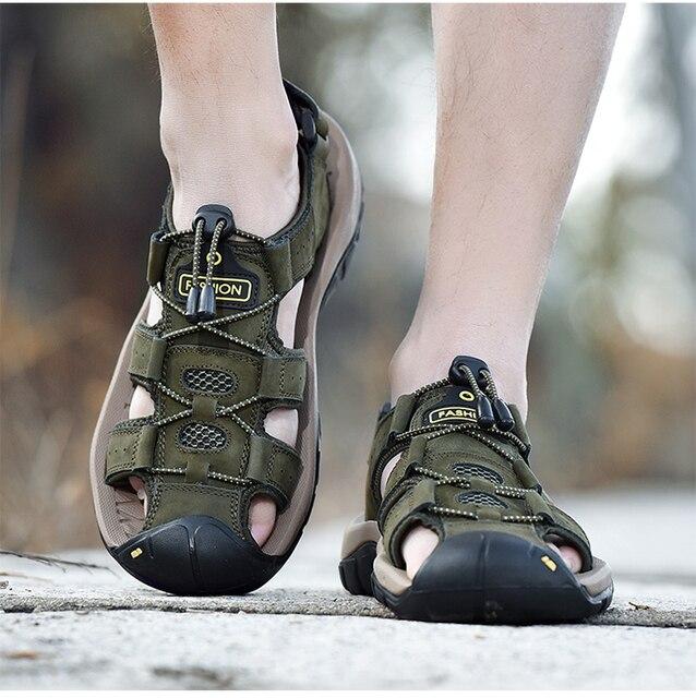 Classic Men Soft Sandals Comfortable Men Summer Shoes Leather Sandals Big Size Soft Sandals Men Roman Comfortable Men Summer 5