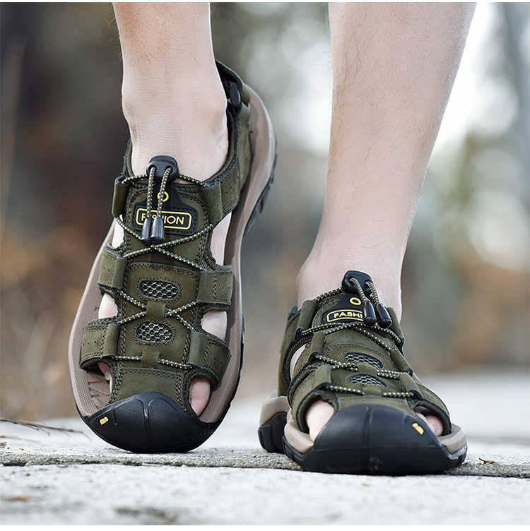 Cổ Điển Nam Mùa Hè Mềm Sandal Thoải Mái Nam Da Thật Da Giày Size Lớn Mềm Mại Ngoài Trời La Mã Giày Xăng Đan
