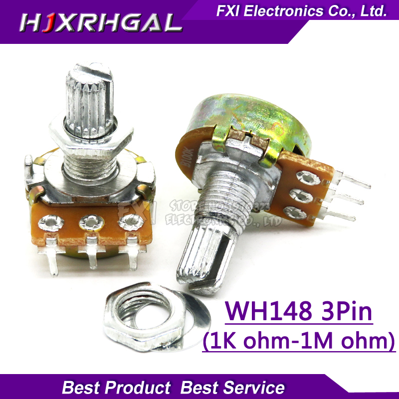 2pcs WH148 B1K B2K B5K B10K B20K B50K B100K B500K 3Pin 15mm Shaft Amplifier Dual Stereo Potentiometer 1K 2K 5K 10K 50K 100K