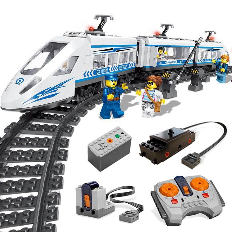 RC coche de tren de alta velocidad ladrillos Compatible Legoing técnica 60051 modelo de coche de Control remoto juguetes para los niños-in Bloques from Juguetes y pasatiempos    1