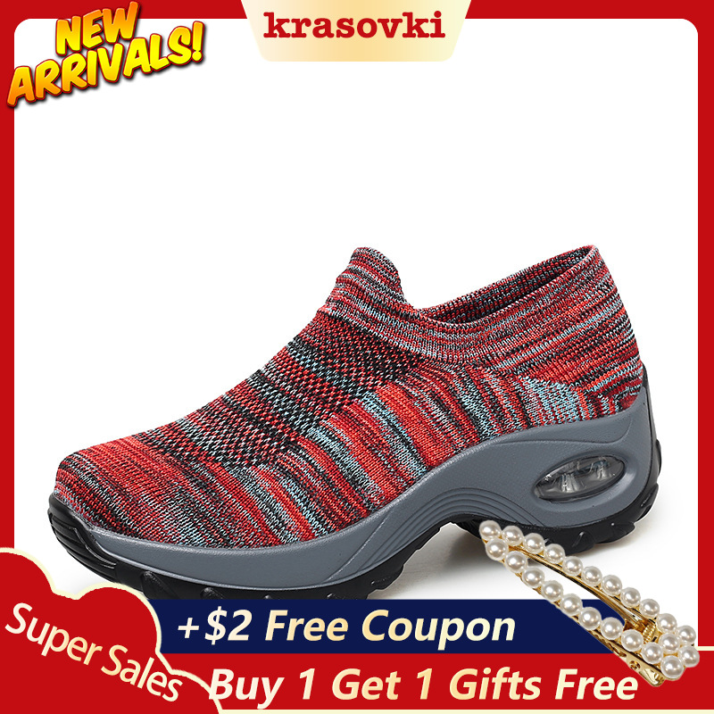 b87990f906a Krasovki Sneakers Women Casual Shoes Platform Knit Breathable Comfortable  Women Walking Female ...