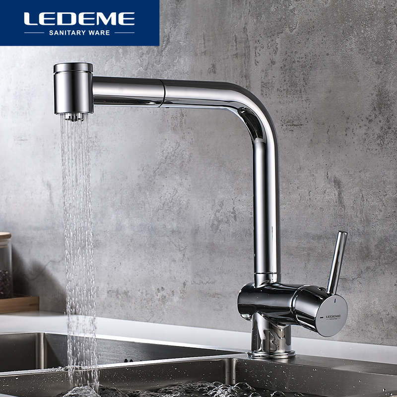 LEDEME New Kitchen Faucet Pull Out Kitchen Tap Single Hole Handle Water Mixer Tap Swivel 360
