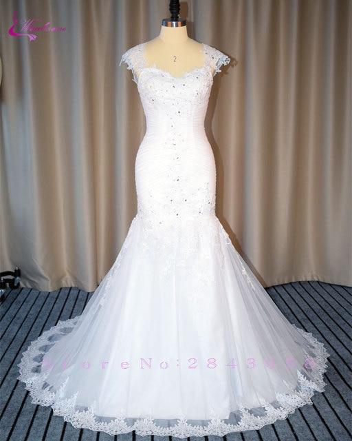 Waulizane Império Querida Sereia Vestidos de Casamento Elegante Apliques de Cristal Lace Up 2017 vestido de Noiva Trompete Tipo