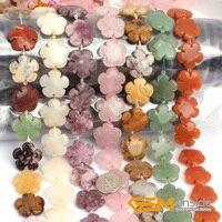 20mm Flower Stone Beads Selectable Quartz Jade Fluorite Sodalite Tourmaline Crazy Agate Aventurine Strand 15 Free