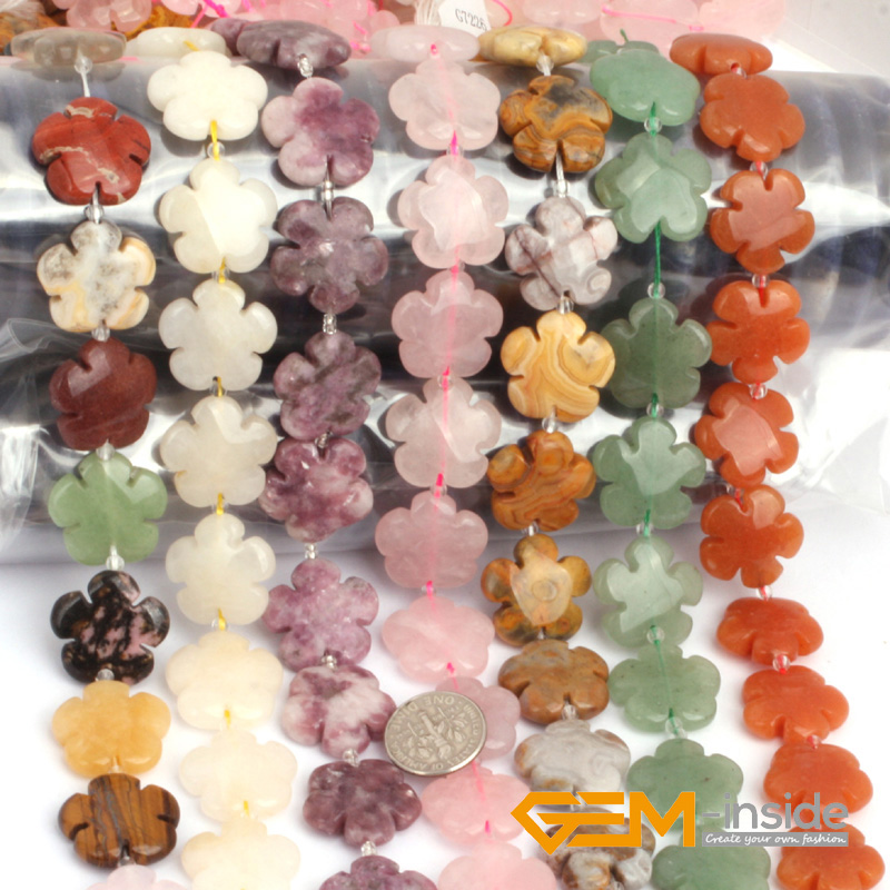 20mm Flower Stone Beads Selectable Quartzs Jad Fluorite Sodalite Tourmaline Crazy agat Aventurine Strand 15 Inches