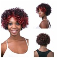 African black women curls Red streaked Brown Short curly hair wigs Fluffy explosive head High quality Synthetic wig