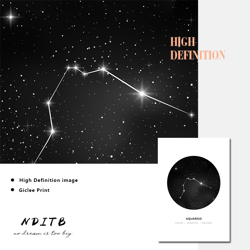 Constellation Nursery Wall Art Canvas Poster Prints Astrology Sign Minimalist Geometric Painting Nordic Kids Decoration Pictures