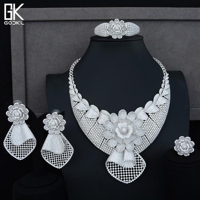 GODKI Luxe Zonnebloem Afrikaanse Lariat Sieraden Sets Voor Vrouwen Wedding Kubieke Zirkoon Crystal CZ DUBAI Zilveren Bruids Sieraden Sets