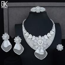 GODKI Luxury Sunflower African Lariat Jewelry Sets For Women Wedding Cubic Zircon Crystal CZ DUBAI Silver Bridal Jewelry Sets