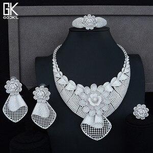Image 1 - GODKI Luxury Sunflower African Lariat Jewelry Sets For Women Wedding Cubic Zircon Crystal CZ DUBAI Silver Bridal Jewelry Sets