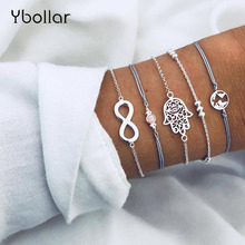 5pcs/Set Simple Bohemian Silver Chain Waxed Leather Bracelet Set Map Palm Bead Gem Female Women Multilayer Jewelry