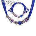 MANBALA Nueva Moda Vintage Crystal Sistemas de La Joyería para Las Mujeres con Aleación de Zinc y Cristal Del Grano Collar Pulsera Joyería Étnica 900AA