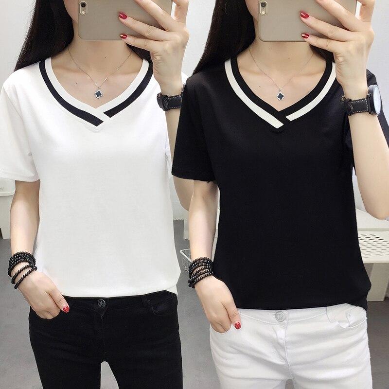 4XL 5XL Plus Size Korean Women's Clothing Fashion Big Size T-shirt Female V neck Short Sleeve Casual obesity Tee Shirt Top Femme 1