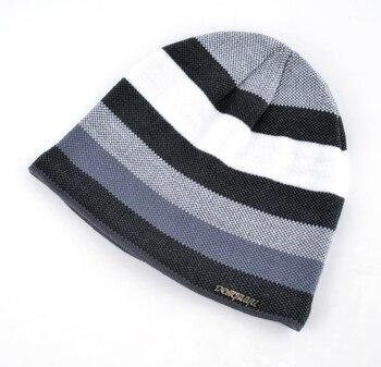 2018 Men's Skullies Hat Bonnet Winter Beanie Knitted Wool Hat Plus Velvet Cap Thicker Stripe Skis Sports Beanies Hats for men