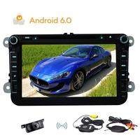 Wireless Backup Camera!!New Android 6.0 Stereo System Quad core GPS Navigation 2din Car DVD Player with Canbus for Steering whee