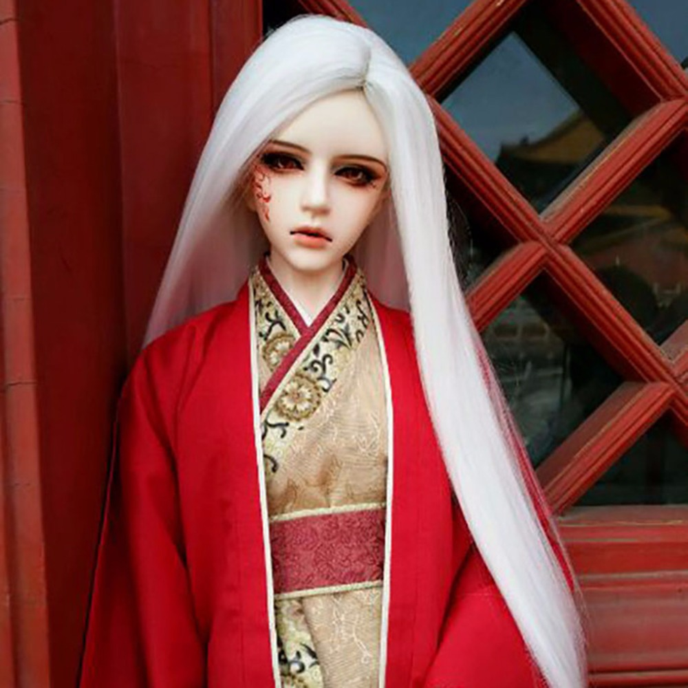 BJD SD long straight hair wig doll wig without bangs 100% high quality high temperature fiber 1/3 1/4 1/6 1/8 has 21 colors newest 1 3 1 4 1 6 bjd sd doll wig wire light blonde colors high temperature bjd super dollfile for doll hair wig