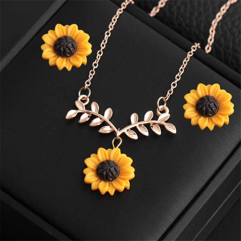 Fashion Sunflower Pendant Necklace Stud Earrings Jewelry Sets For Women Silver Rose Gold Chain Choker Jewellery Accessories