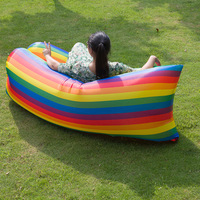 Outdoor Rainbow Air Beanbag Singleplayer Balcony Siesta Inflatable Sofa Bed Lounged Air filled Chair Easy to Folding/Storage