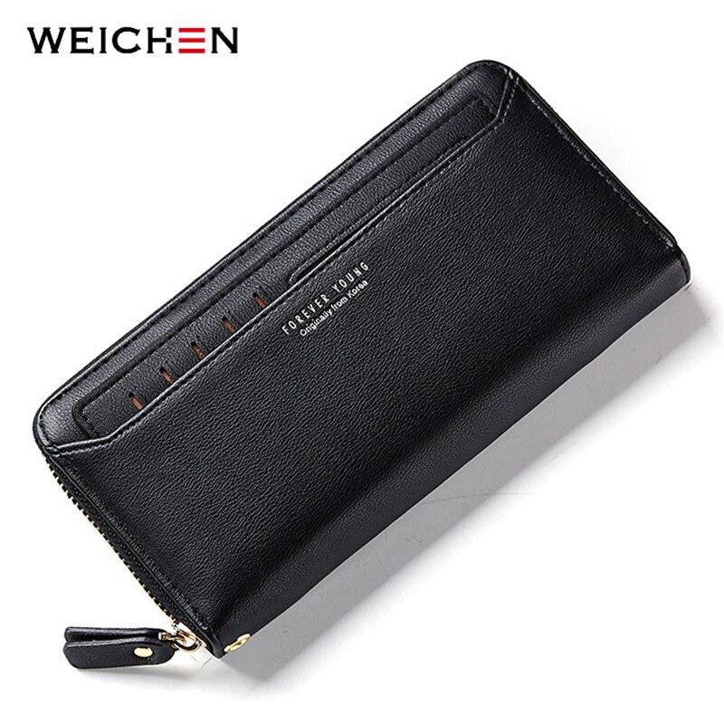 WEICHEN Zipper Clutch Wallets Purses Card-Holder Phone-Pocket Women Coin Fashion Long