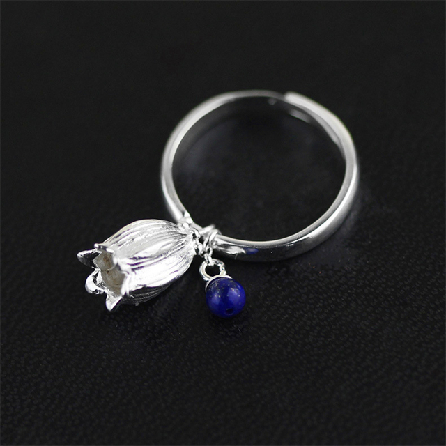 New! Unique & Creative Design Redbud Flower Ring With Stone For Women Real 925 Sterling Silver Handmade Jewelry anel