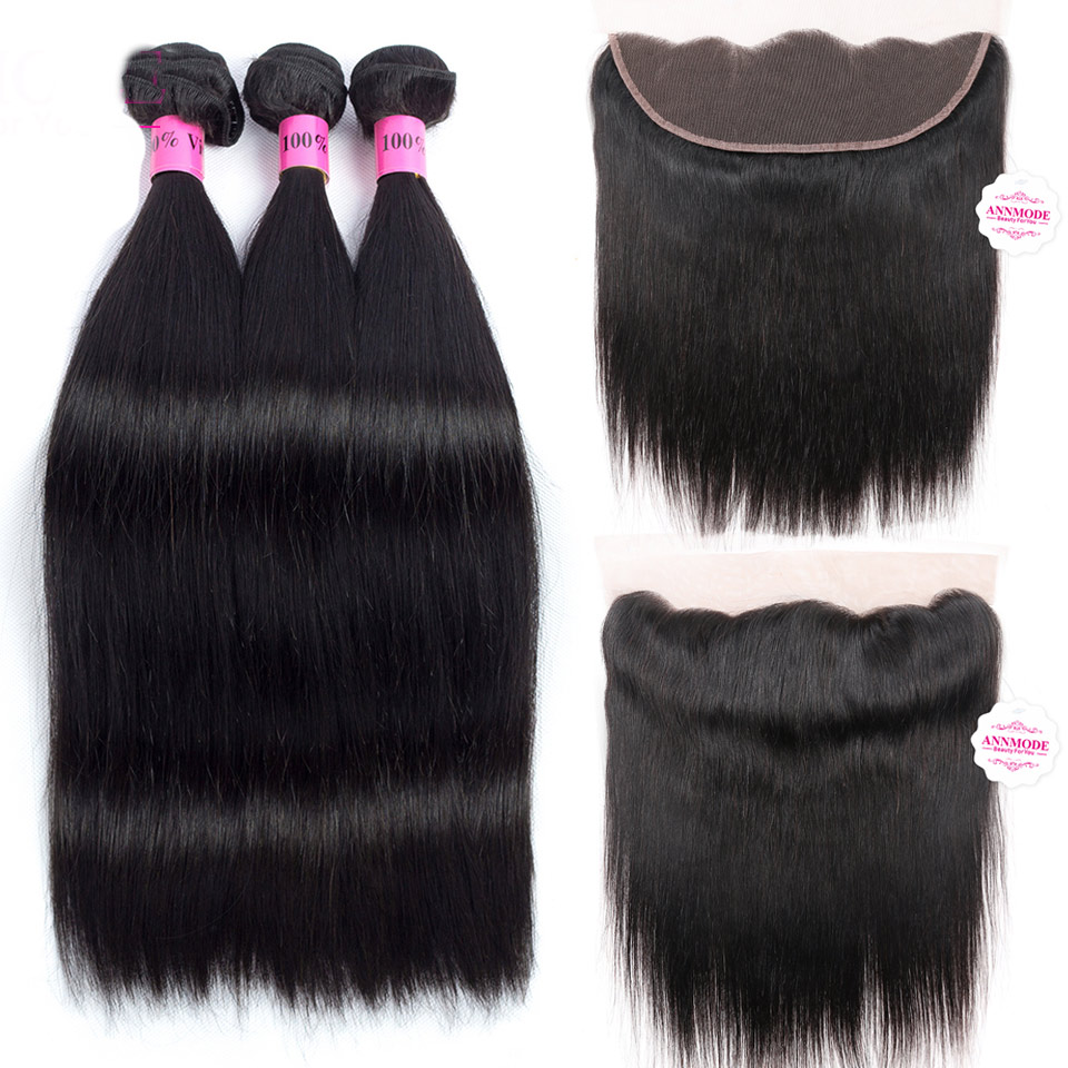Annmode Brazilian Straight Hair Bundles With Frontal 3 Bundles Human Hair With Frontal Non Remy Hair Extension Natural Hairline