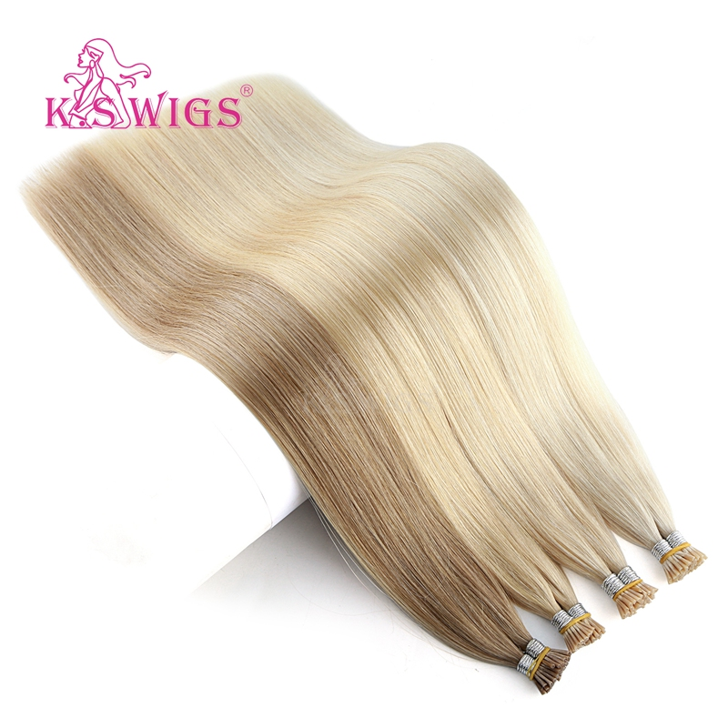 K.S WIGS Remy Keratin I Tip Human Hair Extensions Double Drawn Pre Bonded Fusion Human Hair 20'' 28'' 25s/pack