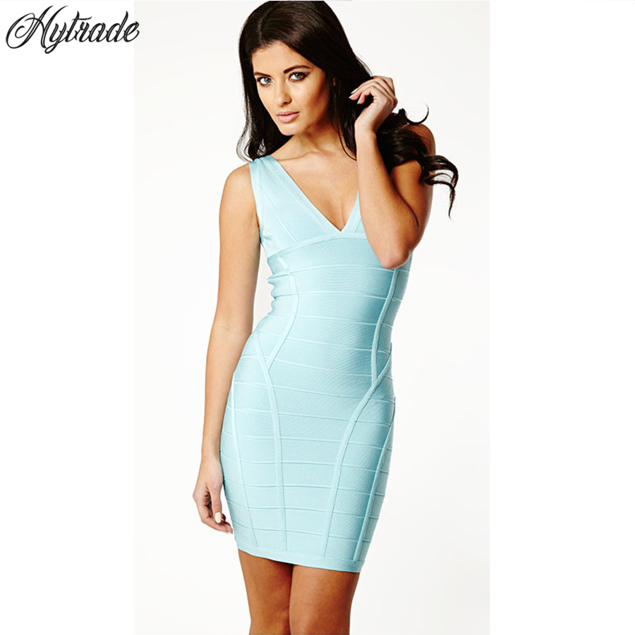 Clearance Sale Few in Stock 2018 Cheap Cocktail Club V Neck Plunge Sexy Sleeveless Mini Party Vestidos Women Rayon Bandage Dress