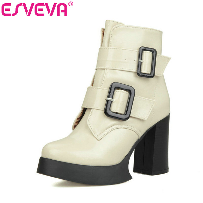 ESVEVA White Platform Shoes Thick High Heel Woman PU Ankle Boots Buckle Women Shoes Ladies Motorcycle Boots Large Size 34-43 esveva winter zipper pu platform shoes women thick high heel knee high boots buckle lady black riding boots big size 34 43 page 4