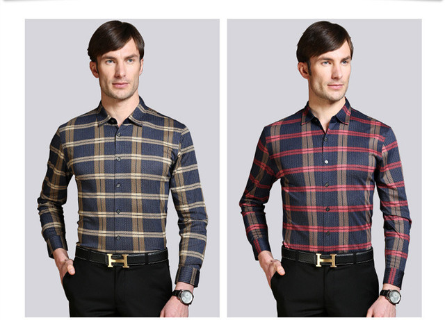 free shipping 2015 long sleeve single breasted button down formal business red and black plaid shirt male men dress shirt brand