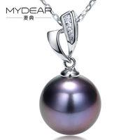 MYDEAR Women Pearl Jewelry Genuine 11 12mm Tahitian Pearls Pendants Necklaces Precious Gold Diamond Holder Slide
