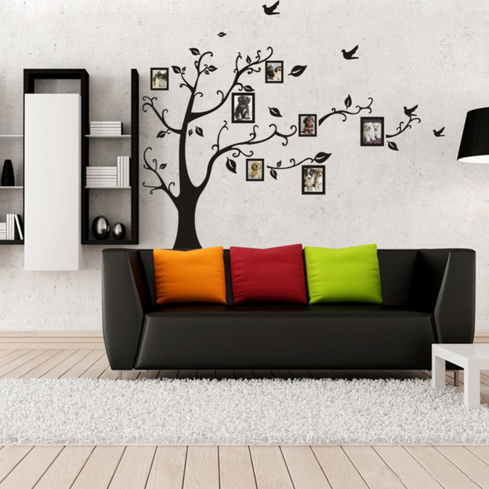 LP 1set Large Size 90*120cm Black Color Family Tree Sticker Wall Decal U0026  Photo Frame Tree Stickers For Living Room Wall Decor In Wall Stickers From  Home ... Part 92