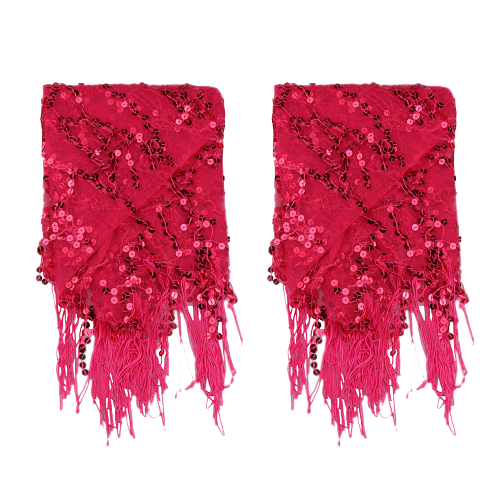 Lady's Belly Dance Sequins Triangle Hip Scarf With Tassel Rose Red
