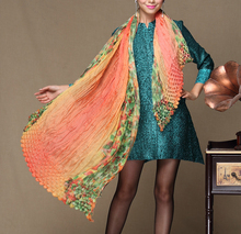 Four Seasons Miyake pleats Stereo Bubble Matching Colour Printed Wrinkle Large Shawl Super Scarf free shipping