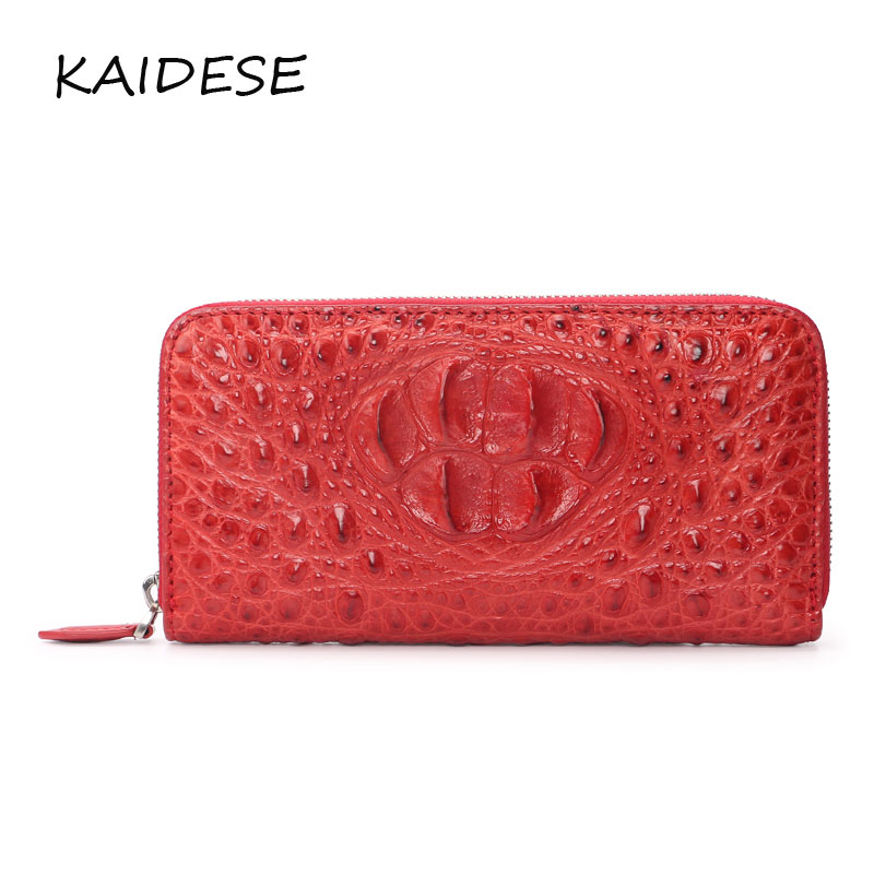 KAIDESE fashion red hand leather wallet alligator ladies handbags large carry makeup bag casual high-quality luxury leather bag kaidese 100% thai crocodile leather hand work system for 2017 new style real leather alligator bag lady big capacity hand bag