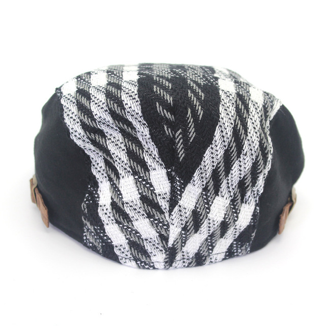 Material Flat Cap, Black and White Checkered Men's Beret