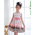 2016 New Summer Baby Girls Printed Dress Casual Style Designer Bow Children Dresses Kids Clothes 2 Color YY1615