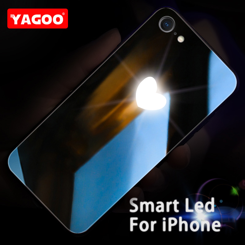 Yagoo Smart LED Glowing Phone Case For Apple iPhone 7 8 Plus Cases Back Cover Lovely Funda Luxury Silicone Glass Fashion Capa in Fitted Cases from Cellphones Telecommunications