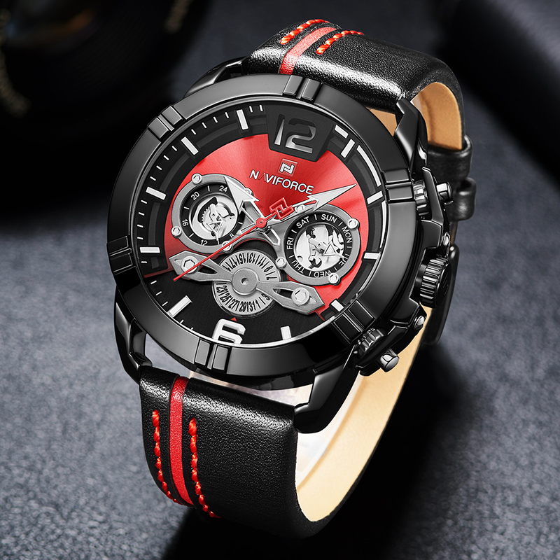 Image 3 - Relogio Masculino NAVIFORCE Men Watch Luxury Brand Mens Military Sports Quartz Watches Male Leather Waterproof Calendar Clock-in Quartz Watches from Watches