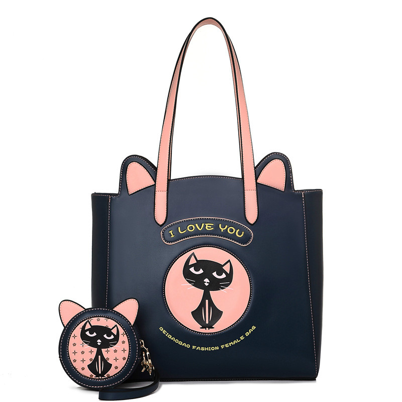 ФОТО Women Handbags 2017 New PU Leather Cute Kitty Shoulder Bags Composite Bags Cat Cartoon Character High Quality Preppy Style Blue