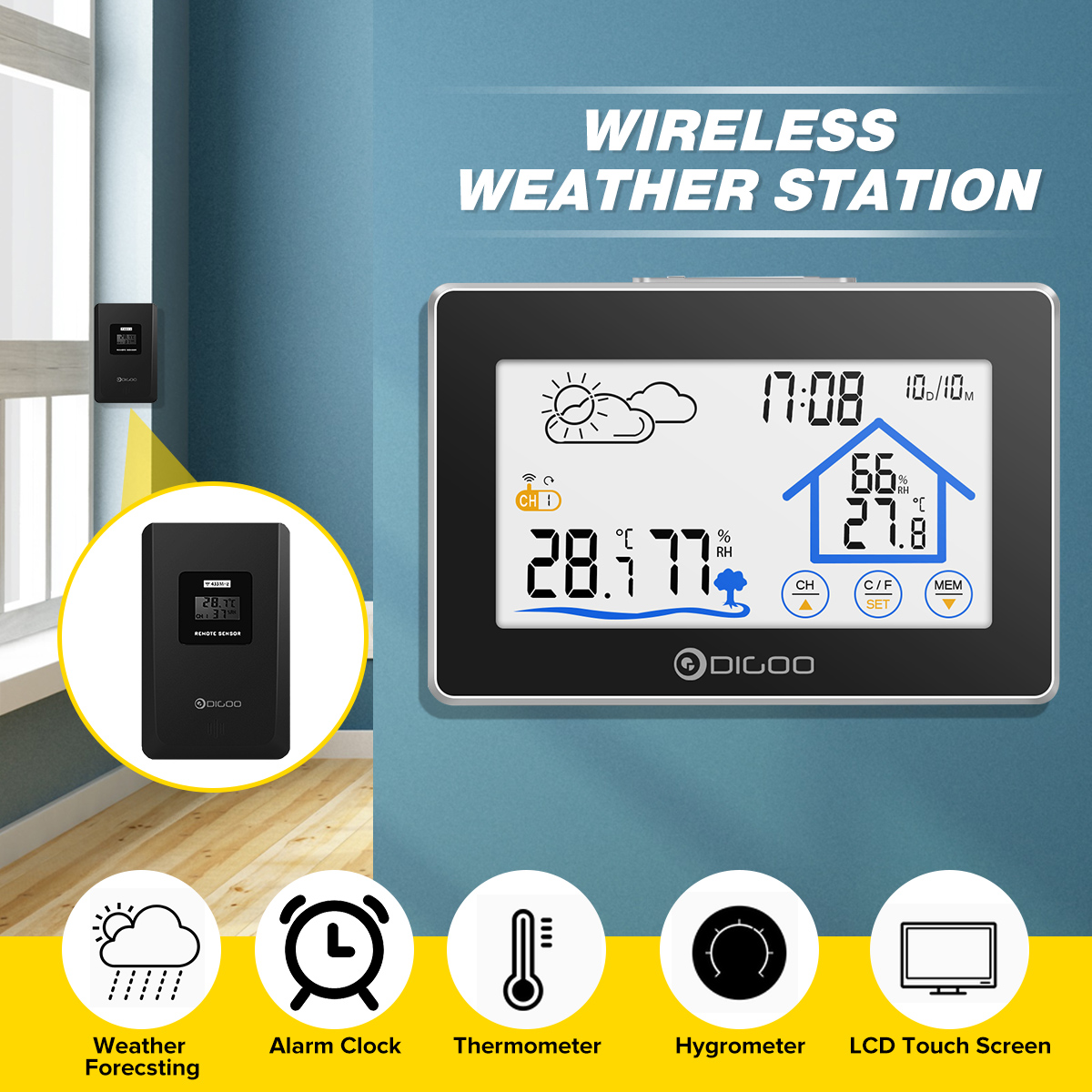 Digoo DG-TH8380 Touch Weather Station + Outdoor Forecast Sensor 3CH Backlit Thermometer Hygrometer Calendar Alarm Clock Digoo DG-TH8380 Touch Weather Station + Outdoor Forecast Sensor 3CH Backlit Thermometer Hygrometer Calendar Alarm Clock