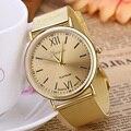 Nueva Plata del Oro de Lujo de Acero Inoxidable Reloj Analógico de Cuarzo Relojes Mujeres de Los Hombres de Negocios Reloj Relogios Femininos