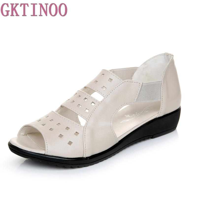GKTINOO קיץ נשים נעליים שטוחות עור אמיתי אישה סנדלי נשים סנדלים פתוחים מזדמנים סנדלים