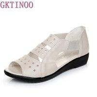 Summer Women Shoes Woman Genuine Leather Flat Sandals Casual Open Toe Sandals Women Sandals
