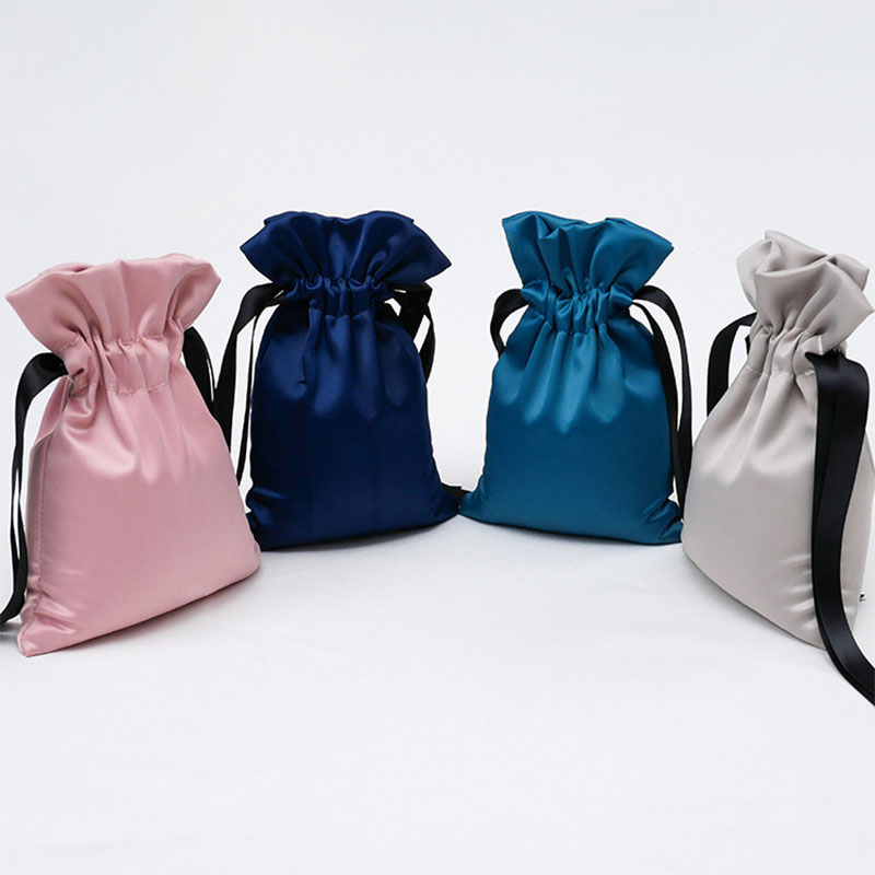 Fancy Gray/Pink/Green/Blue Satin Drawable Jewelry Packaging Bags 22x16cm Birthday Christmas Storage Gift Bags Make Up Pouches