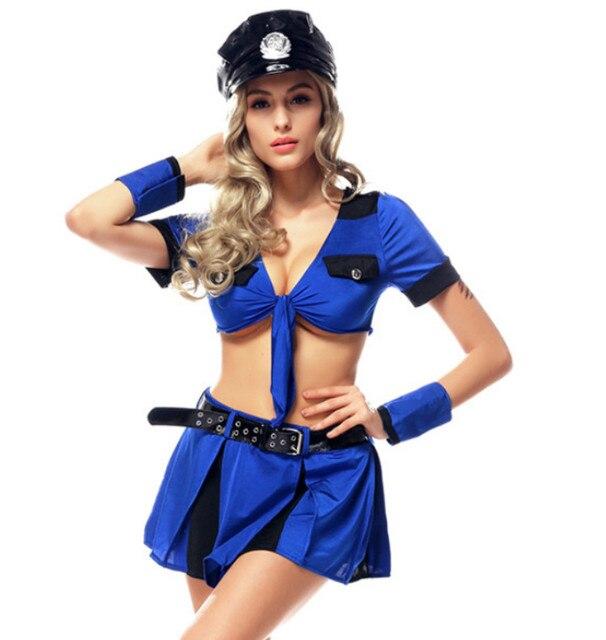 Sexy Blue Cop Cosplay Costume Women Police Uniform Adult Halloween ...