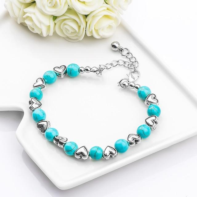 H: HYDE Moda Boemia alla moda lucido noble cuore di Pietra Naturale Perline di c