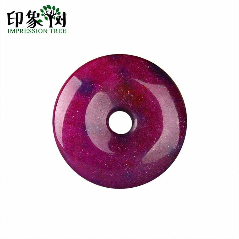 Handmade Purple Stone Jad e Donut Flat Round Beads Pendant 1pc 40X8mm Fit Necklace DIY For Jewelry Making DIY 18005