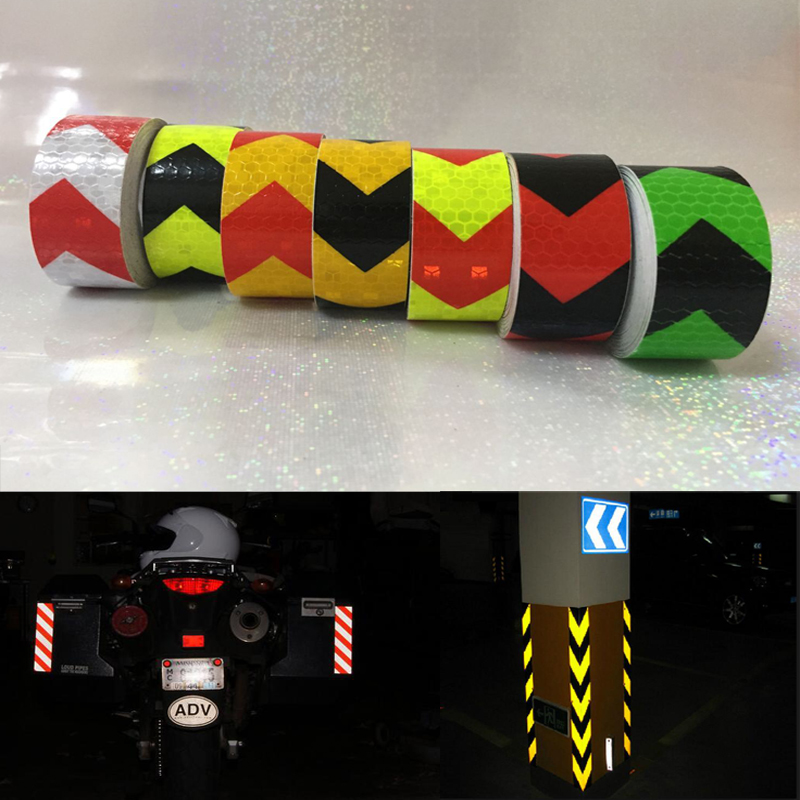 25mm x 5m Safety Mark Reflective tape stickers car styling Self Adhesive Warning Tape Automobiles Motorcycle Reflective Film in Car Stickers from Automobiles Motorcycles