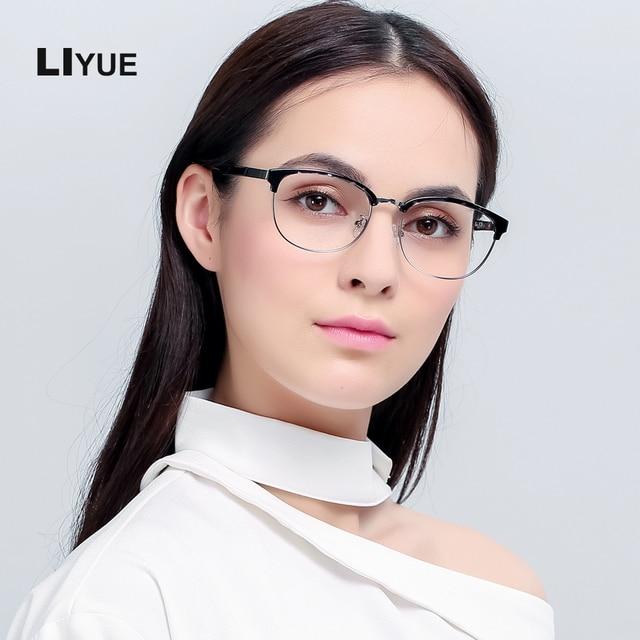 06d8f7f852 LIYUE Korean glasses women optical frame vintage 2017 Prescription eyewear  frames men Oval round metal glasses